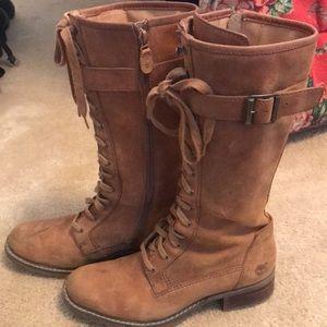 Timberland Tall Laced Boots w/ Strap & Zipper sz. 9
